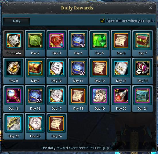 july daily login rewards riders of icarus