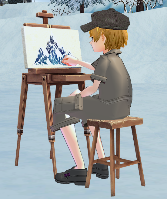 Mabinogi Finished Snow Mountain Painting and Easel, Winter Painter Event