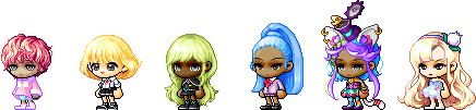 MapleStory Female Royal Hair Styles: Breeze Hair, Puffy Wave Hair, Eve Hair, Half Up-Do Hair, Kat Hair Mod, and Rhea Hair Mod