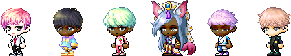 MapleStory Male Royal Hair Styles: Chromatic Flip Hair, Plain Bobbed Hair, Latte Bubble Hair, Sarim Hair Mod, Sosom Hair, and Tousled Tufts Hair