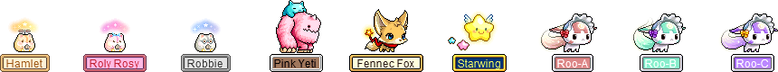 MapleStory Wonderberry Pet Equipment: Hamster Seed, Pink Yeti's Blue BFF, Starry Muffler, Starwing's Star Trail, Roo-A Baby Bonnet, Roo-B Baby Bonnet, and Roo-C Baby Bonnet