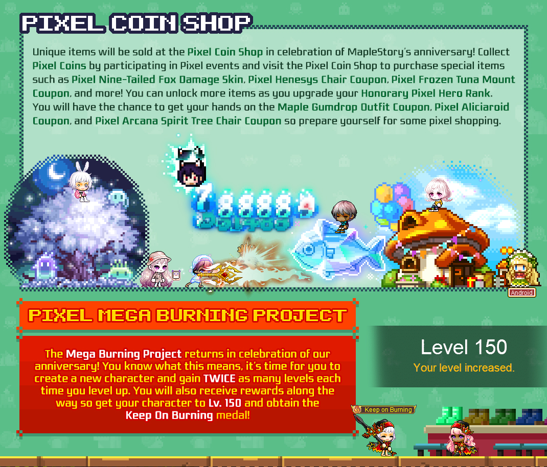 MapleStory 15th Anniversary Pixel Party Events Preview
