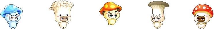 MapleStory May 6 Gachapon Mounts Blue Jelly Enoki Orange Oyster Red Mushroom Outfit Mounts