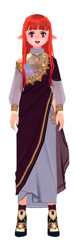 Mabinogi Purple-Dyed Elegant Lotus Shawl Dress