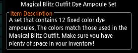 Mabinogi Magical Blitz Outfit Dye Ampoule Set