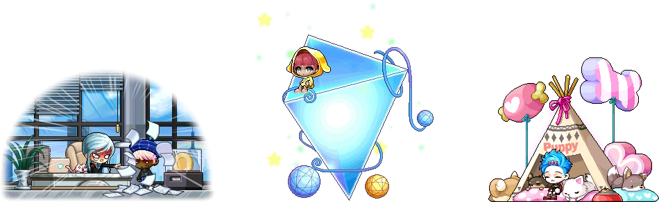 MapleStory June 3 Gachapon Chairs Do It Again! Bright Future Pup Tent