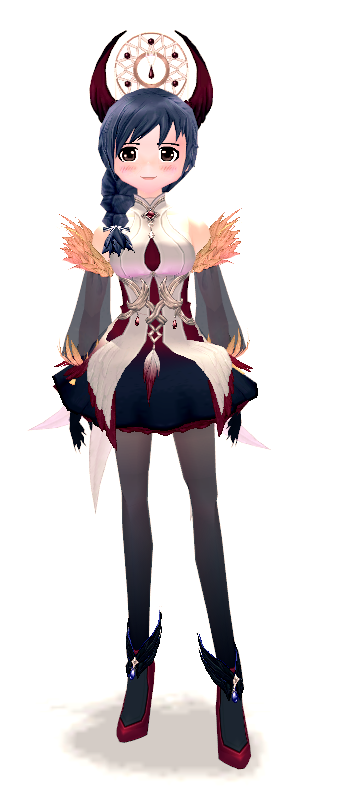 Mabinogi Red-dyed Crow Feather Dress