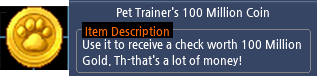Mabinogi Pet Trainer's 100 Million Coin