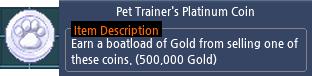 Mabinogi Pet Trainer's Platinum Coin
