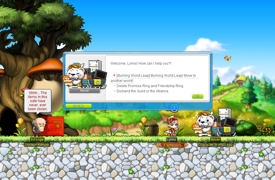 MapleStory Burning World World Leap Screen