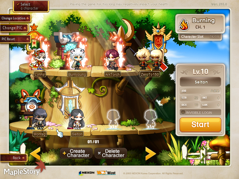 MapleStory Burning World Characters