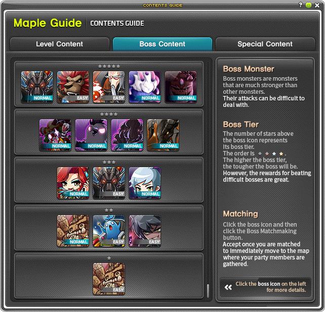 MapleStory Boss Content Menu