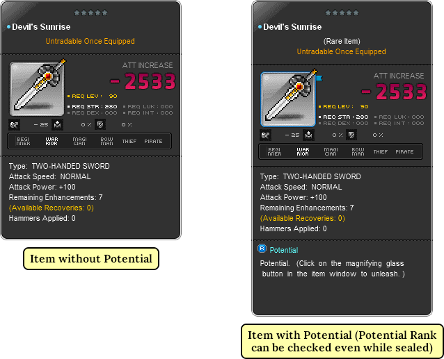 MapleStory Items with and without Potential