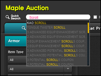 MapleStory Auction House Search