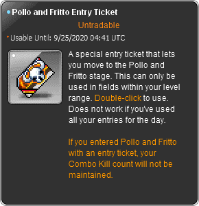 MapleStory Bounty Hunting Pollo and Fritto Entry Ticket