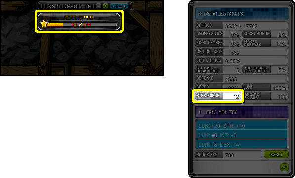 MapleStory Star Force in Stats and World