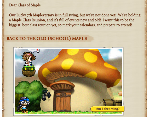 Our Lucky 7th Mapleversary is in full swing, but we're not done yet!  We're holding a Maple Class Reunion, and it's full of events new and old!  I want this to be the biggest, best class reunion yet, so mark your calendars, and prepare to attend!