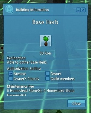 Image of the Base Herb building information menu.