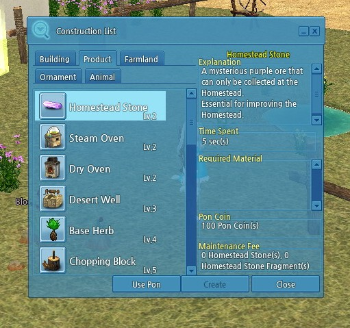 The build menu