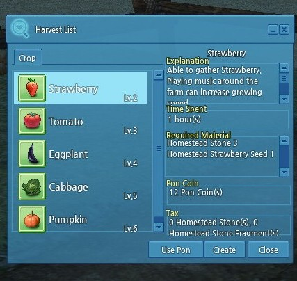 The crop menu