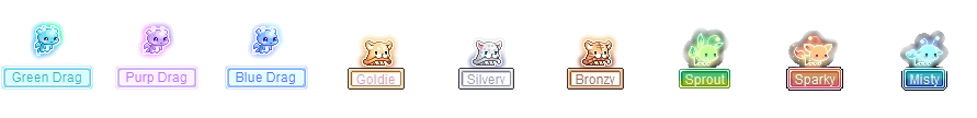 MapleStory October 14 Cash Shop Update Luna Crystal Pets Green Drag Purp Drag Blue Drag Goldie Silvery Bronzy Sprout Sparky Misty