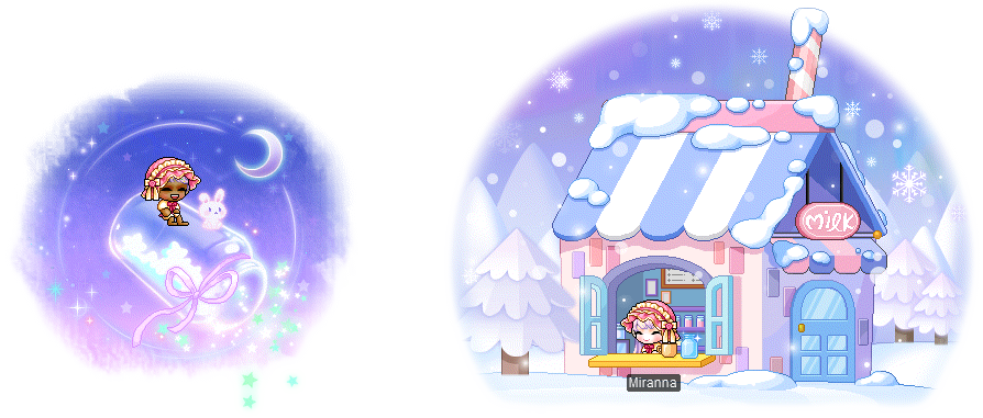 MapleStory January 6 Gachapon Chairs Galaxy Glass Chair Milk Cafe on a Snowy Mountain