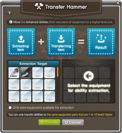 MapleStory Transfer Hammer Window