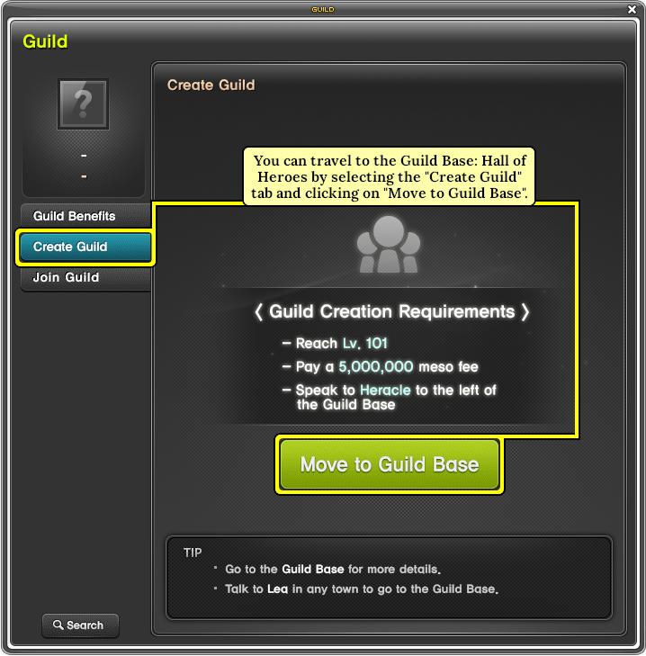 MapleStory Move to Guild Base via Guild UI