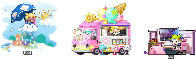 MapleStory July 7 Gachapon Chairs MapleStory Love Sprinkled From a Cloud Chair Ice Cream Truck Chair Play with Me Pink Chair